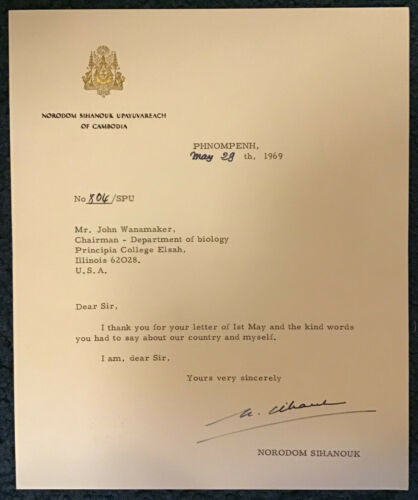 Norodom Sihanouk King of Cambodia Signed Letter 1969 / Autographed