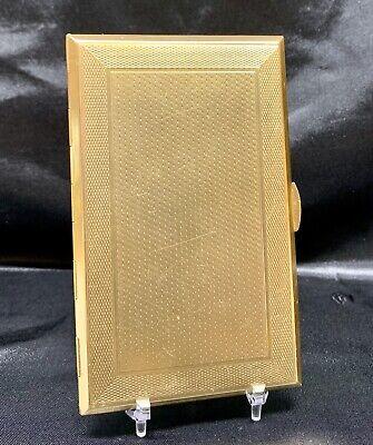 "Vintage Gold Tone Metal Cigarette Case 5-3/8"" x 3 1/4"" Seluart Worcester England"