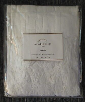 NIP Pottery Barn Sheer Smocked Drape Panel White Cotton Pole Top 42 x 96