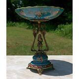 Wong Lee Blue Art Deco Porcelain & Bronze Young Maiden Pedestal Plate