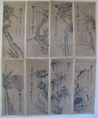 Rare Korean Joseon Dynasty SooMookHwa Blk Ink 8 Panel Screen Paintings on Cotton