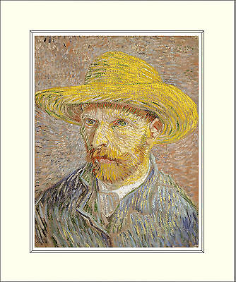Van Gogh Self Portrait with Straw Hat 10 x 8 Inch Mounted Art Print