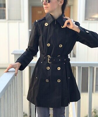 Michael Kors Double Breasted Trench Coat Belted MK Logo Lining Black Size Small