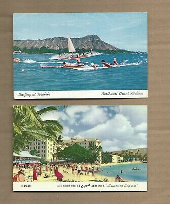 2 Northwest Orient Airlines Postcards of Hawaii - Northwest Orient Airlines