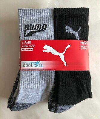 6-Pk Men's Puma Crew Cut Cushioned Performance Socks Gray Black - New! | sz 6-12