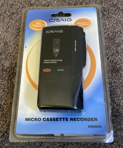NEW SEALED - Craig VOX Voice Activated 2 Speed Micro Cassette Recorder CR8003