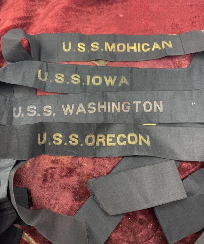 4 WW1 WW2 HAT NAVY TALLY RIBBONS USS OREGON WASHINGTON IOWA MOHICAN