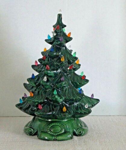 "Vintage 17"" ATLANTIC MOLD CERAMIC LIGHTED CHRISTMAS TREE Dated 1974"