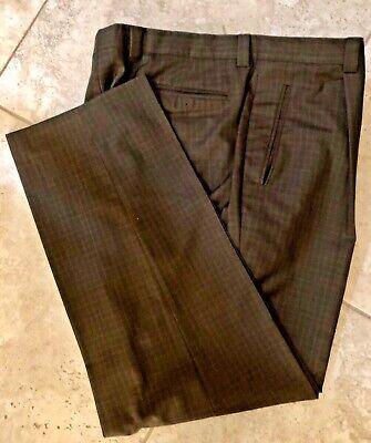 Hickey Freeman Mens Wool Pleated Straight Leg  Dress Pants Brown  40 x 32 ITALY