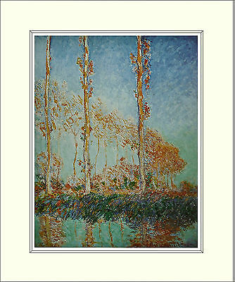 Monet Poplars, Autumn (1891) 10 x 8 Inch Mounted Art Print