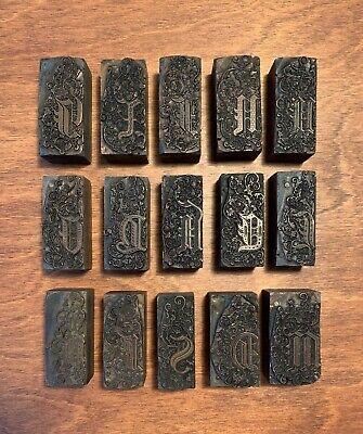 Vintage Gothic Flourish Illuminate Copper Wood Printing Blocks 15 Total