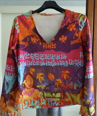 pull blouse manche long lycra V Hawaï visage fleuri mauve-orange-bleu 40/42
