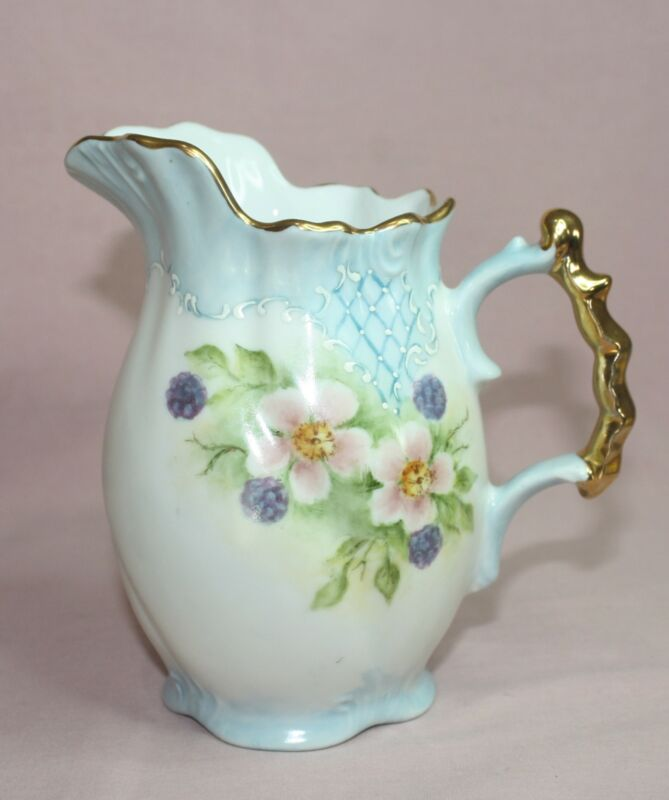 ANTIQUE MILK PITCHER, ENGLAND PORCELAIN EMBOSSED HAND PAINTED SIGNED R. FALLES