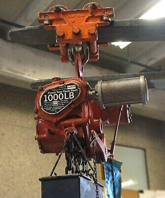 Chicago Pneumatic Cp-1200 Power Vane Chain Hoist 1000 Lb 12 Ton B W Trolley