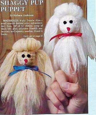 CUTE Shaggy Pup Finger Puppets/Toy/ Crochet Pattern INSTRUCTIONS ONLY - Crochet Finger Puppets
