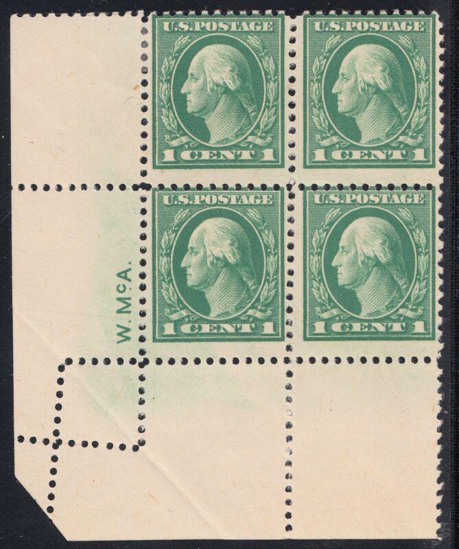 #498 Var. 1¢ Washington Top Left Blk/4 With Fold Over Major Error Bq6130