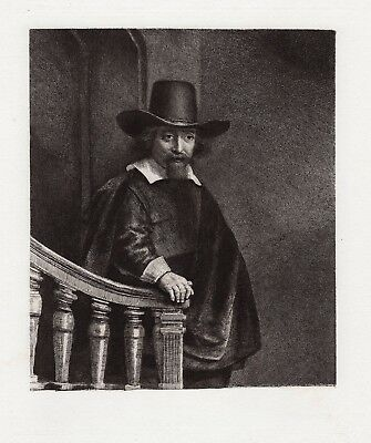 """REMBRANDT 1800s Antique B278 Etching """"The Physician"""" Original DURAND FRAMED COA"""