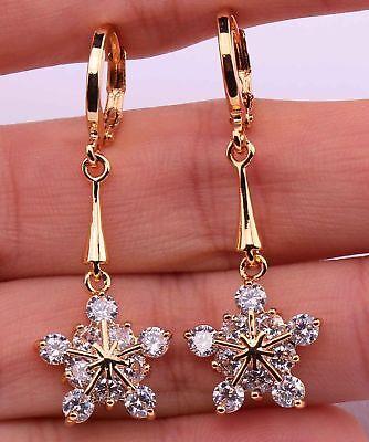 (18K Gold Filled - Snowflake Flower Topaz Zircon Women Prom Dangle Earrings Gift)