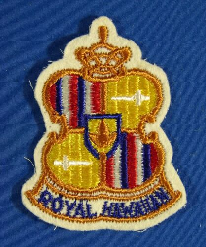 """Vintage Embroidered Patch; """"Royal Hawaiian"""" With The Crest / Logo Of Their Hotel"""