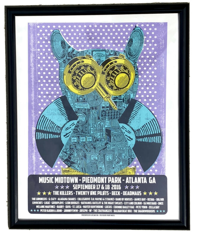 Framed Music Midtown 2016 Festival Line Up Poster Atlanta GA Piedmont Park