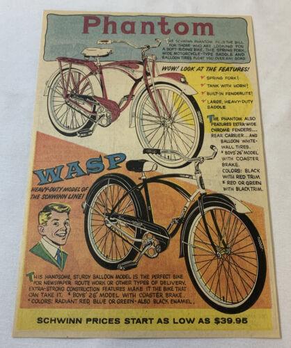 1959 Schwinn bicycle cartoon ad ~ PHANTOM, WASP