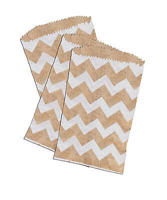 25 -3x5 Mini Natural Kraft White Chevron -flat Paper Treat Bags