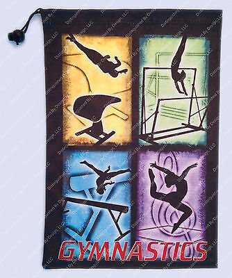 Gymnastics Grip or Tablet Bag 4 Event Custom Design - Multicolored on Black