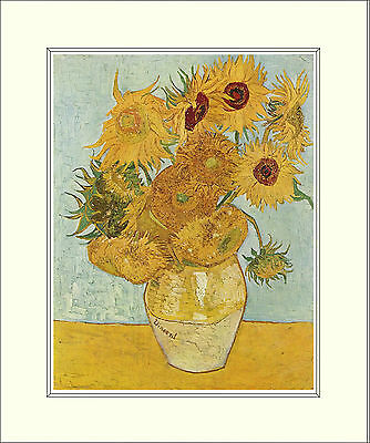 Van Gogh Twelve Sunflowers (August, 1888) 10 x 8 Inch Mounted Art Print