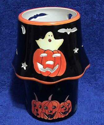Happy Halloween! Ghost & Jack o' Lantern Carved Pumpkin Ceramic CANDLELAMP black