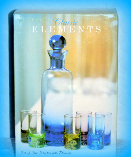 CLASSIC ELEMENTS *NEW* SET OF 6 MULTI-COLOR SHOOTER GLASSES & BLUE DECANTER