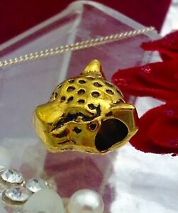 Gold coloured cheetah Bead fits Pandora bracelet
