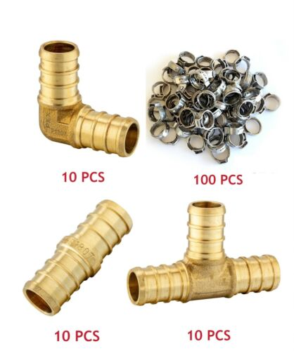 "(130 PCS) 1/2"" PEX CRIMP FITTINGS SS CINCH CLAMP -CERTIFIED LEAD FREE BRASS"