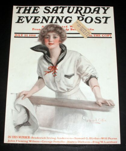 1914 OLD SATURDAY EVENING POST MAGAZINE COVER, JULY 25, W. HASKELL COFFIN ART!