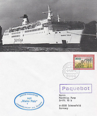 CROATIAN CRUISE SHIP MT MARKO POLO A SHIPS CACHED COVER & SMALL MAGAZINE PICTURE