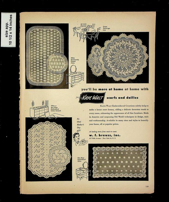 1953 Kaye Walt Scrafs Doilies W F Breuss Vintage Print Ad 015776