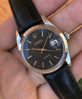 1968 Rolex Oysterdate 6694 Black Full Gilt Dial Men's Wristwatch ORIGINAL