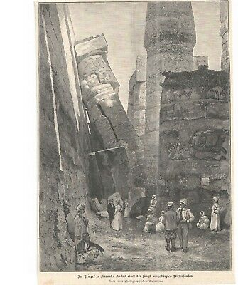 TEMPEL zu KARNAK -  Illustration -  old print -  alter  Druck
