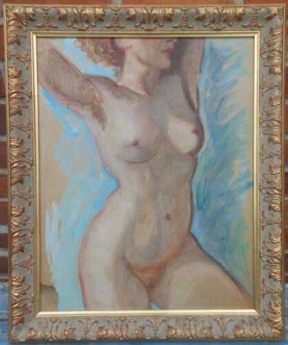 Very Nice Mid Century Gouache Nude Study By Leslie Crump (N.Y. 1894-1962)