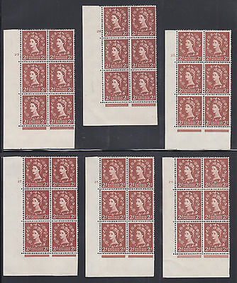Great Britain SG 573 MNH. 1958 2p Wilding Cylinder Blocks of 6, 8 different