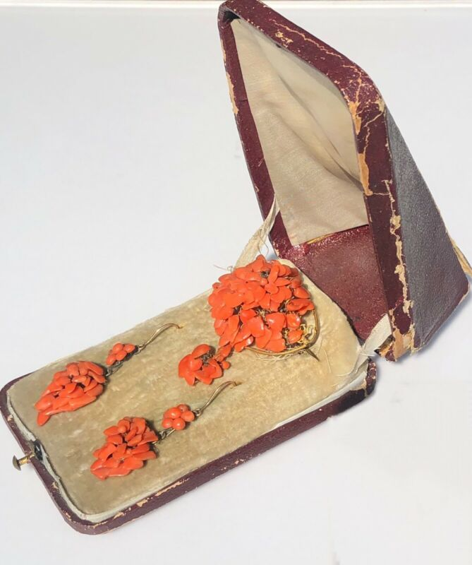 Sciacca Orange Coral Antique Victorian Brooch Pin Earrings Suit In Fitted Box