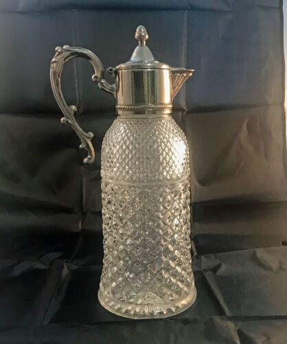 Vintage Heavy Glass Claret Jug With Silver Plated Lid, Handle & Spout
