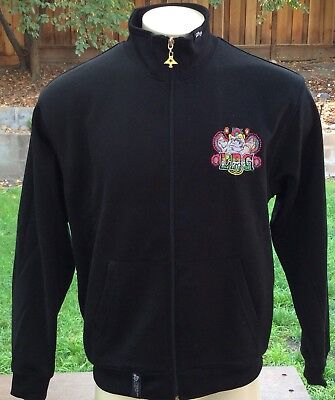 Men's Lifted Research Group LRG Urban Art Track Jacket Sz M Embroidered Skull Skull Track Jacket