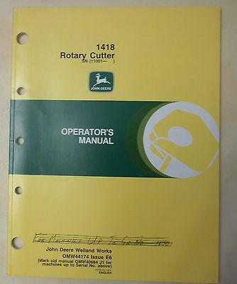 John Deere Operators Manual For The 1418 Rotary Cutter 11001-brush Bush Hog