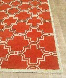 Scroll Tile Rug Orange Contemporary Moroccan Modern 8x10