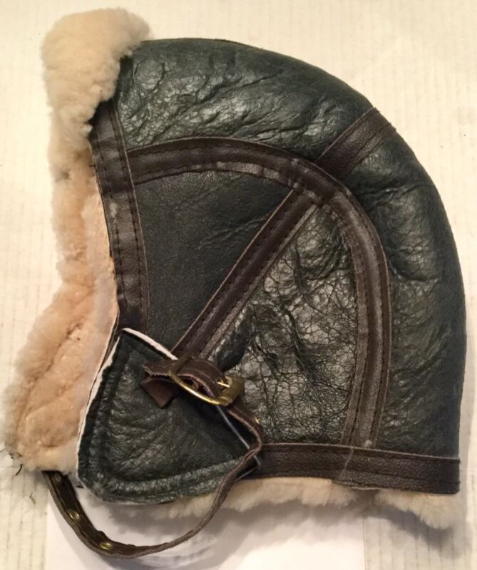 Vintage Genuine Leather Aviator Motorcycle Cap with Shearling Wool Lining RARE