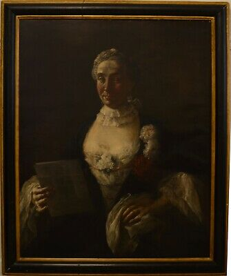 Fine antique 18th century portrait of a lady oil on canvas painting