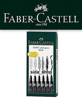 Faber-Castell Tuschestift schwarz PITT artist pen Set black 6er Etui NEU
