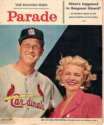 1958 Roanoke Times Sunday Magazine  Baseball  Stan Musial  St  Louis Cardinals