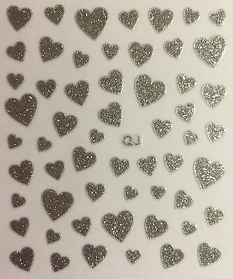 Nail Art 3D Decal Stickers Silver Glittery Hearts Valentine's Day - Silver Stickers