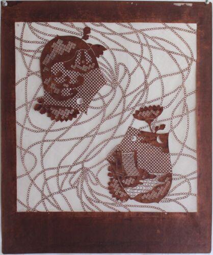 Antique Katagami Japanese Kimono Fabric Stencil Print Meiji Woodblock